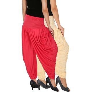 Culture the Dignity Women's Lycra Side Plated Dhoti Patiala Salwar Harem Pants Combo - SPL_DH - CP - Pack of 2 - Cream - Pink