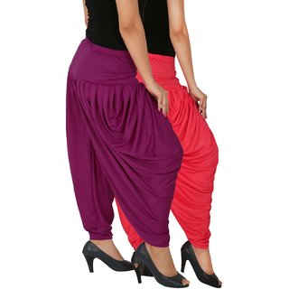 Culture the Dignity Women's Lycra Side Plated Dhoti Patiala Salwar Harem Pants Combo - SPL_DH - PP1 - Pack of 2 - Pink - Purple