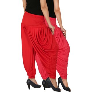 Culture the Dignity Women's Lycra Side Plated Dhoti Patiala Salwar Harem Pants Combo - SPL_DH - PR - Pack of 2 - Pink - Red