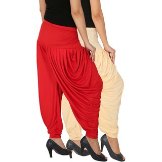 Culture the Dignity Women's Lycra Side Plated Dhoti Patiala Salwar Harem Pants Combo - SPL_DH - CR - Pack of 2 - Cream - Red