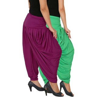 Culture the Dignity Women's Lycra Side Plated Dhoti Patiala Salwar Harem Pants Combo - SPL_DH - GP1 - Pack of 2 - Green - Purple