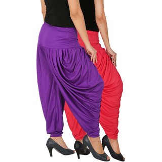 Culture the Dignity Women's Lycra Side Plated Dhoti Patiala Salwar Harem Pants Combo - SPL_DH - PV - Pack of 2 - Pink - Violet