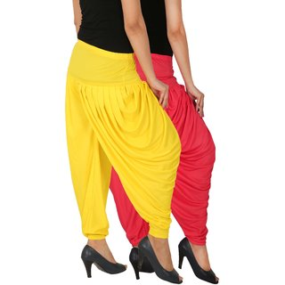 Culture the Dignity Women's Lycra Side Plated Dhoti Patiala Salwar Harem Pants Combo - SPL_DH - PY - Pack of 2 - Pink - Yellow