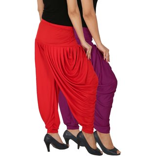 Culture the Dignity Women's Lycra Side Plated Dhoti Patiala Salwar Harem Pants Combo - SPL_DH - P1R - Pack of 2 - Purple - Red