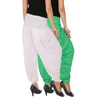 Culture the Dignity Women's Lycra Side Plated Dhoti Patiala Salwar Harem Pants Combo - SPLDH - GW - Pack of 2 - Green - White