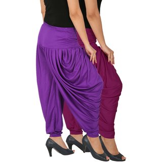 Culture the Dignity Women's Lycra Side Plated Dhoti Patiala Salwar Harem Pants Combo - SPLDH - P1V - Pack of 2 - Purple - Violet