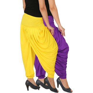 Culture the Dignity Women's Lycra Side Plated Dhoti Patiala Salwar Harem Pants Combo - SPLDH - VY - Pack of 2 - Violet - Yellow