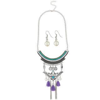 JewelMaze Thread Rhodium Plated Pearl Necklace Set