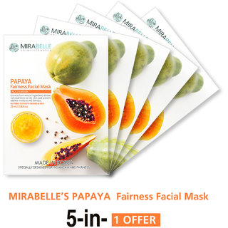 Mirabelle Korea Papaya Fairness Facial Mask (A Pack Of 5)