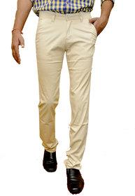 Routeen Men's Cream Regular Fit Formal Trousers