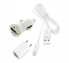 3 in 1 Combo Of Flat Wall Charger with Mini Car Charger and USB Cable for All Smart Phones