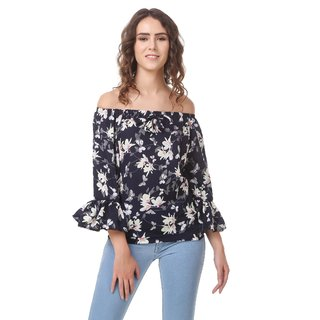 Amiable Casual 3/4th Sleeve Floral Print Women's Blue Top
