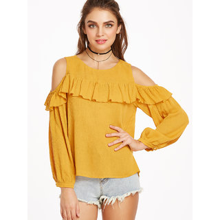 Raabta Fashion Mustard Rayon Cold Shoulder Top