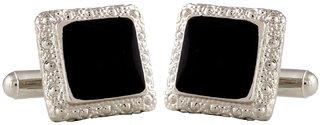 classic black enamel square cufflinks