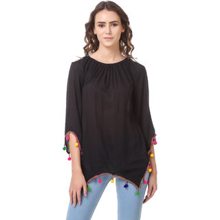 Amiable Casual 3/4th Sleeve Rayon Women's Solid Black Top with Pom Pom