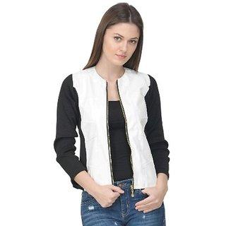 Raabta Fashion White Faux Leather Jacket with Rib for Women