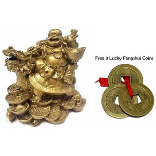 SAHAYA Feng Shui Laughing Buddha sitting On Dragon Tortoise over coins for Wealth  Prosperity ( 8 cms X 5 cms X 8 cms)