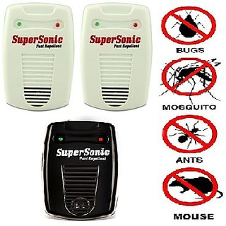 PACK OF 3 MULTI COLOR SUPER ULTRA SONIC INSECTS AND PEST REPELLENT MACHINE (WHITE AND BLACK)