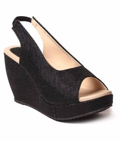 Dajwari Women's Synthetic Leather Black Color Wedges