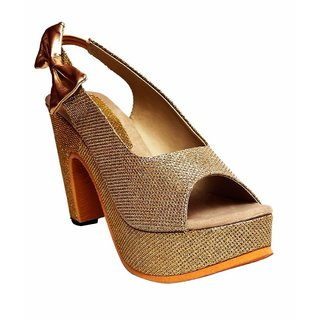 Dajwari Women's Synthetic Leather Gold Color Wedges