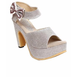 Dajwari Women's Synthetic Leather Silver Color Wedges