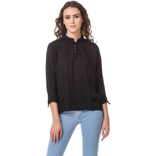 Amiable Casual 3/4th Sleeve Rayon Women's Solid Black  Mandarin Top