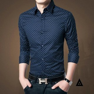 Blue dotted Mens shirt