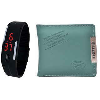 Chawla Digital Watch And Green Sport Wallet