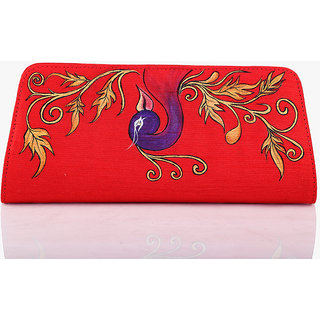 Rangrage - Clutch / Purse / Hand bag - Peacock - Red Color Ladies Clutches