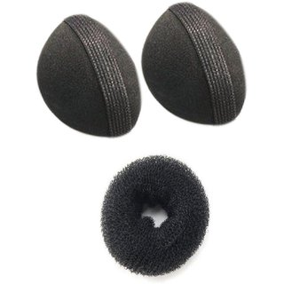 combo of donut bun maker and hair styling base 2 black