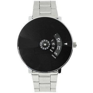 HK  New Black Dial Stainless Still Strap For Couple And Boys And Girls Watch - For Men  Women