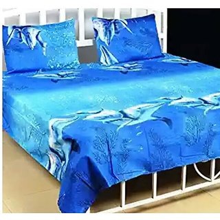 Choco Creation Cotton blue 3d  double bedsheet with free 2 pillow covers
