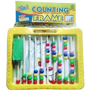 Abacus with Writing Board Counting Frame 2 in 1 with Duster and Chalk for kids