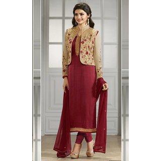 India Stylish Designer Bollywood Stan Maroon Georgette Unsched Prachi Desai Suit Salwar Kameez Koti Dress