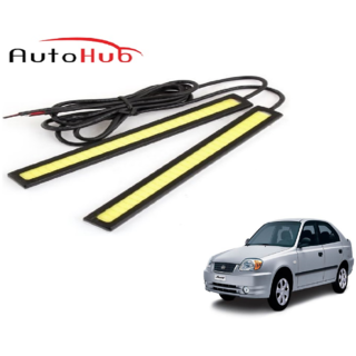 Auto Hub 12V Daytime Running Fancy Light For Hyundai Accent - White (Pack of Two)