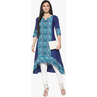 Ziyaa Women's Blue Coloured Digital Ikkat Print Flared Party Wear Cotton High Low Kurta