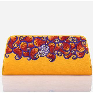 Rangrage - Clutch / Purse / Hand bag - Plush Paisley - Yellow Color Ladies Clutc