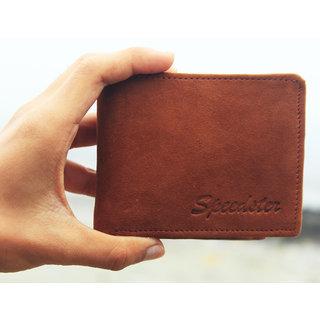 Speedster India Mens Wallet 100 Genuine Suede Leather (Brown)
