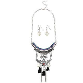 JewelMaze Black Thread Rhodium Plated Pearl Necklace Set