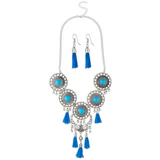 JewelMaze Blue Thread Rhodium Plated Necklace Set
