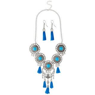 JewelMaze Blue Thread Rhodium Plated Necklace Set