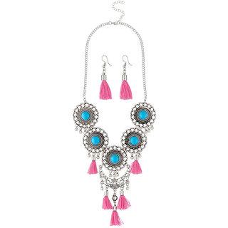 JewelMaze Pink Thread Rhodium Plated Necklace Set