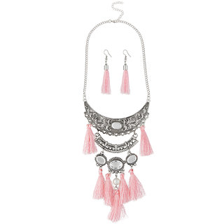 JewelMaze Rhodium Plated Pink Thread Necklace Set