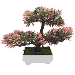 Random 3 Headed Artificial Bonsai Tree with Green and Pink Leaves