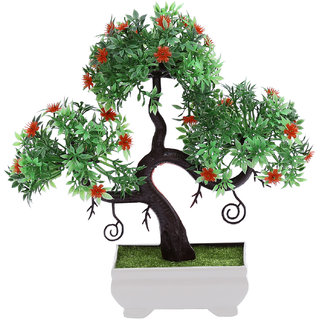 Random S Shaped Artificial Bonsai Tree with Small Green Leaves and Red Flowers