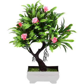 Random Y Shaped Artificial Bonsai Tree with Pink Roses