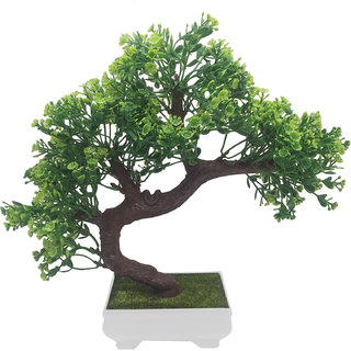 Random Bent Artificial Bonsai Tree with Green Leaves and Green Flowers