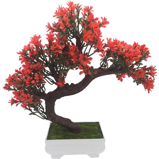 Random Bent Artificial Bonsai Tree with Small Red Leaves