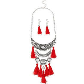 JewelMaze Red Thread Rhodium Plated Necklace Set
