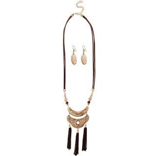 JewelMaze Antique Gold Plated Brown Thread Necklace Set